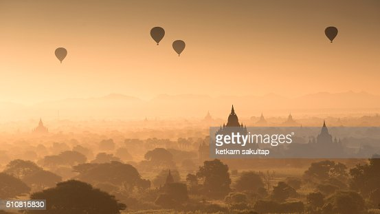 Ancient city of Bagan during sunrise.