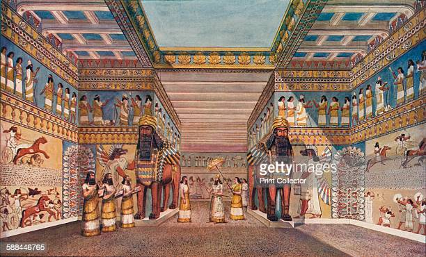 within the palace of an Assyrian king 1907 From Harmsworth History of the World Volume 1 by Arthur Mee JA Hammerton AD Innes MA Artist within the...
