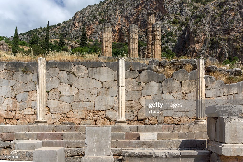 Ancient Columns in Greek archaeological site of Delphi, Greece : Stock Photo