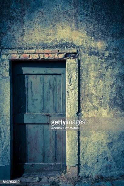 Ancient doorway bathed in atmospheric light