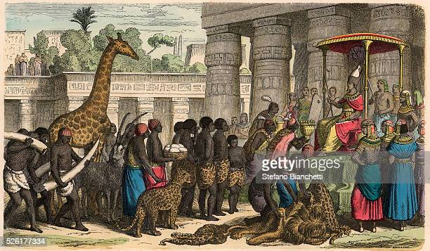 Ethiopians bring their tributes before the Pharaoh Coloured engraving by Heinrich Leutemann Bilder aus dem Altertume 1866