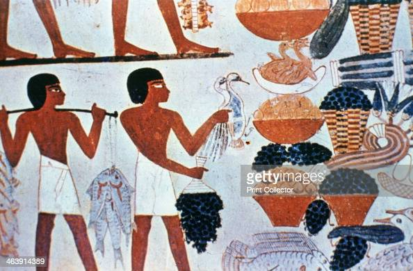 Ancient egyptian wall paintings in a tomb at thebes egypt for Ancient egyptian cuisine