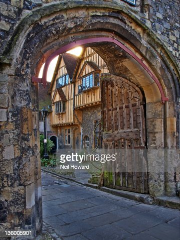Ancient Gate In City Wall With Wooden Gates Stock Photo ...