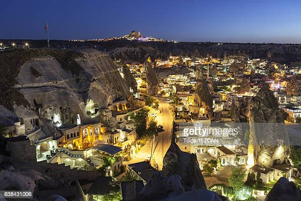 Ancient Goreme town and castle of Uchisar at night