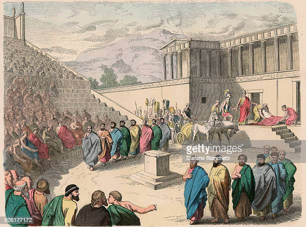 Theatre Production of the tragedy Agamemnon Coloured engraving by Heinrich Leutemann Bilder aus dem Altertume 1866