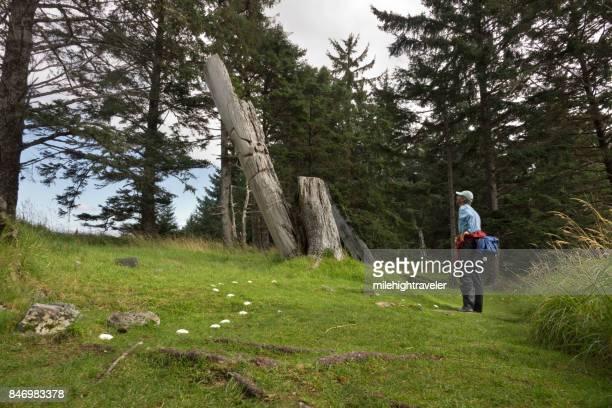 Ancient Haida Skedans village totem poles Haida Gwaii British Columbia Canada