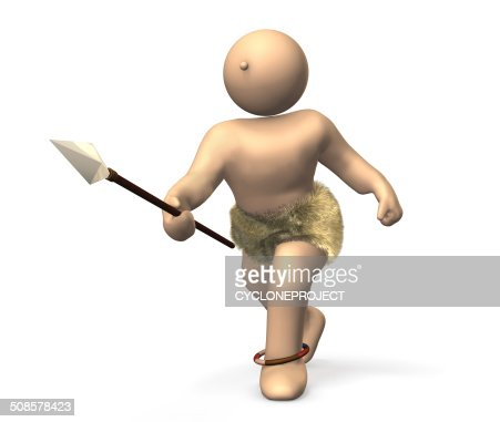 ancient hunter is  looking for prey armed with spears. : Stock Photo