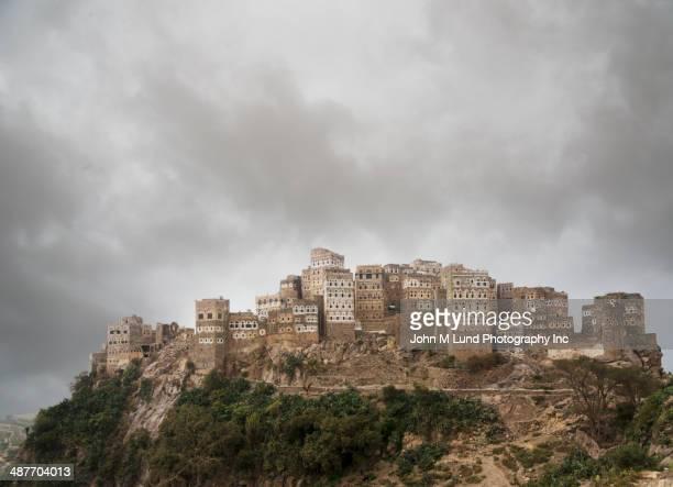 Ancient Jewish settlement on rocky hilltop, Al Hajjarah, Yemen