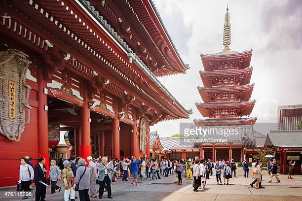 古代の観音浅草寺寺院サンダー門塔東京、日本