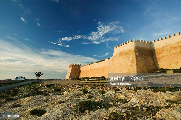 Ancient Kasbah walls at dawn, Agadir, Atlantic Coast, Morocco