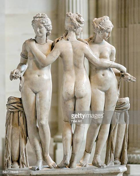 Ancient marble statue of the Three Graces in the Musee du Louvre Museum Paris France Circa second century AD 119 m high