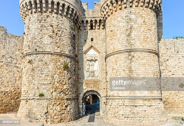 Ancient medieval city walls surrounding Rhodes, Greece