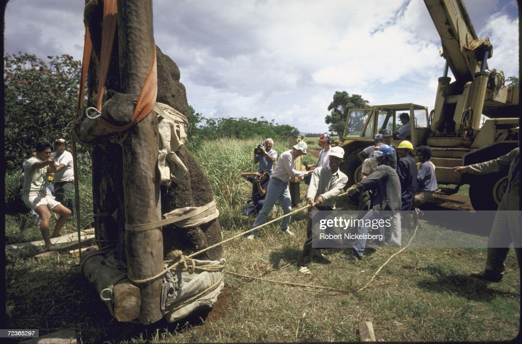 Ancient monolithic human bust with elongated heads on Easter Island being prepared for moving by workers from archaeological expedition headed by Norway's <a gi-track='captionPersonalityLinkClicked' href=/galleries/search?phrase=Thor+Heyerdahl&family=editorial&specificpeople=931459 ng-click='$event.stopPropagation()'>Thor Heyerdahl</a>.