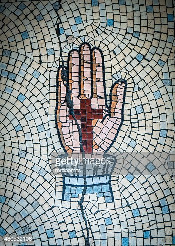 Ancient Mosaic Of Hand And Cross : Stock Photo