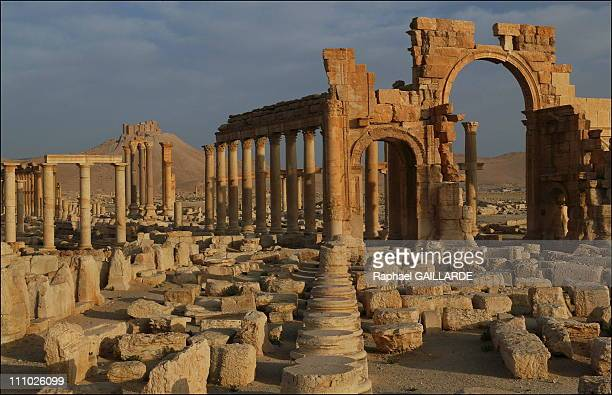 Ancient Palmyra the Triumphal Arch on the Great Sreet built in the early 3rd century AD at the Tomb of the Three Brothers in Palmyra Syria in March...