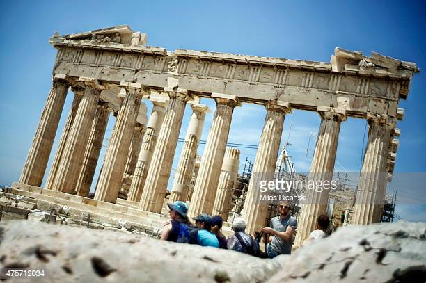 Ancient Parthenon temple on the Acropolis Hill on June 3 in Athens Greece Greek Prime Minister Alexis Tsipras is expected to be presented with the...