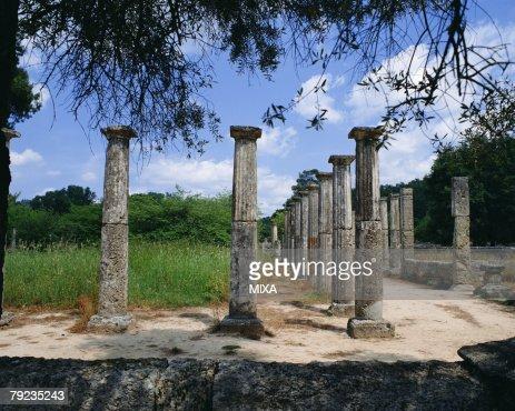 Ancient pillars in Olympia, Greece : Stock Photo