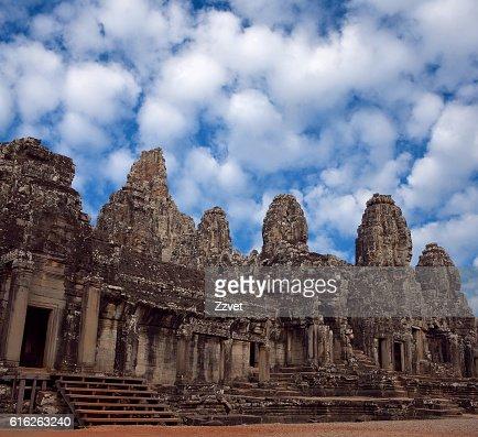 Ancient Prasat Bayon Temple in Angkor Thom, Cambodia : Stock Photo