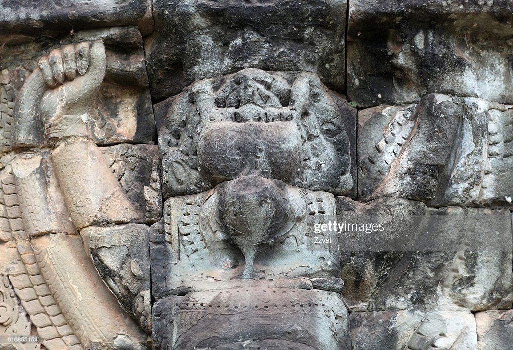 Ancient relief in Angkor Thom, Cambodia : Stock Photo