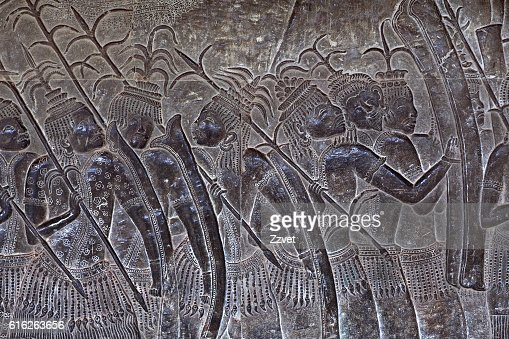 Ancient reliefs at Angkor Wat, Cambodia : Stock Photo