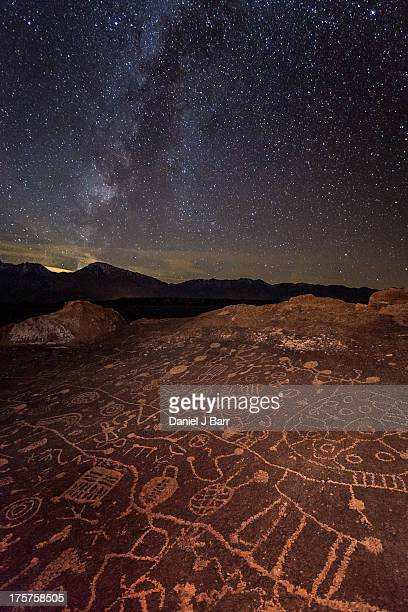 Ancient Rock Art under a Starry Sky