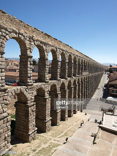 Ancient Roman Aqueduct in Segovia, Spain
