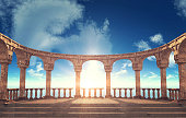 Ancient Roman column ruins in elliptical arrangement, 3D rendering