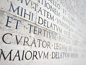 ancient roman epigraph on a marble wall