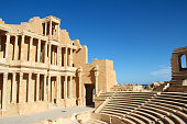 Partialy reconstructed theatre in the ancient Roman city of Sabratha weat of Tripoli, Libya