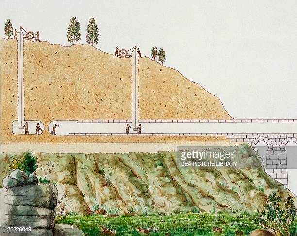 Ancient Rome Building aqueduct tunnel Color illustration