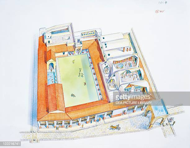 Ancient Rome Italy Campania Region Pompei Reconstructed bathouse Color illustration