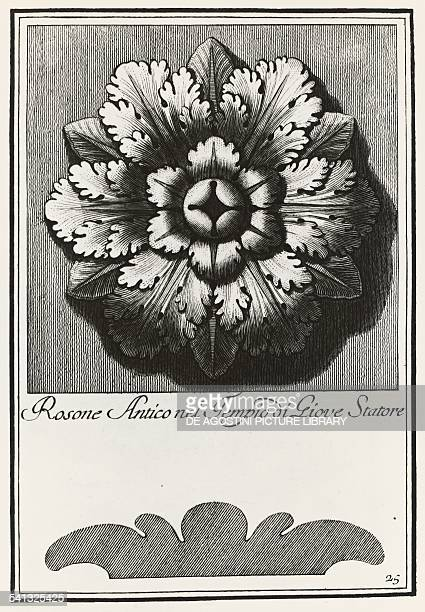 Ancient rosette from the Temple of Jupiter Stator plate 25 elevation and section engraving from Manual of various ornaments by Carlo Antonini Italy...