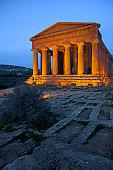 Ancient ruins lit up at night