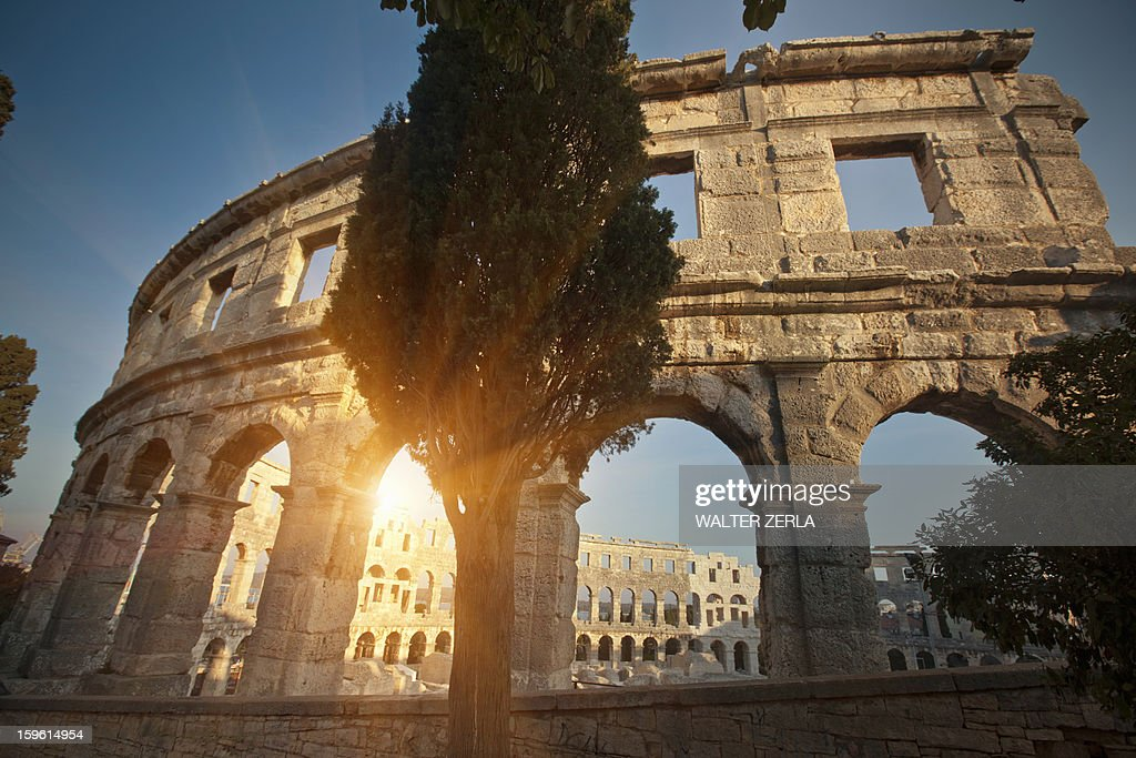 Ancient ruins of arena : Stock Photo
