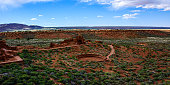 Ancient ruins. Wupatki Ruin Ball Court. Wupatki National Monument in Arizona, USA