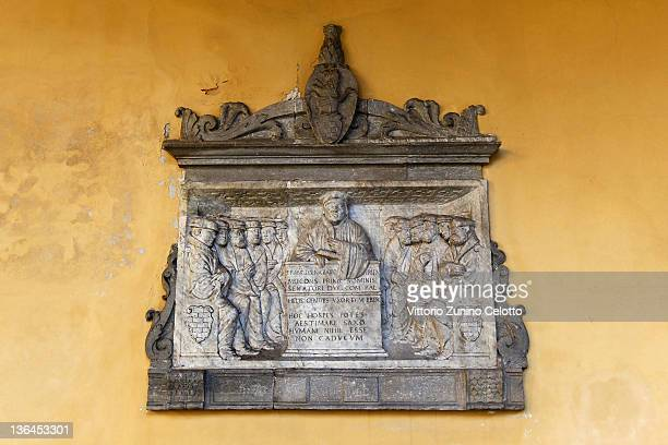 A ancient slab is displayed on a wall of the university of Pavia on January 5 2012 in Pavia Italy Pavia is a town of the Lombardy region northern...