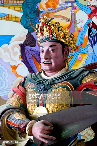 Ancient statue at Qiongzhu Si temple in Kunming, China : Stock Photo
