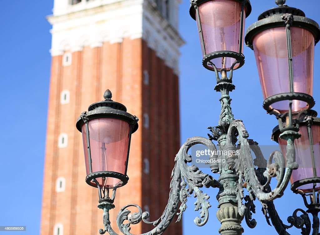 Ancient streetlight in Saint Mark Square in Venice Italy : Stock Photo