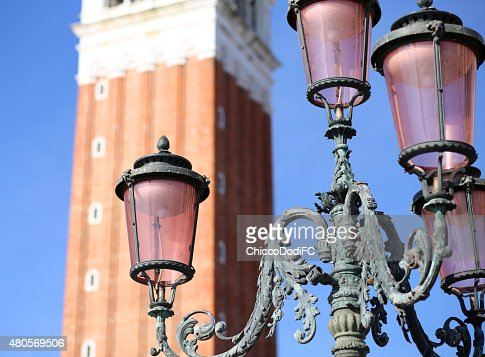 Ancient streetlight in Saint Mark Square in Venice Italy : Stock Photo