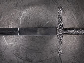 ancient sword on a metal background