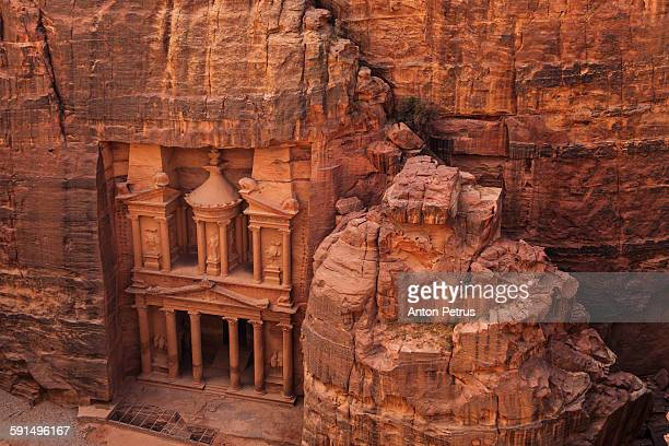 Ancient temple carved out of sandstone. Petra.