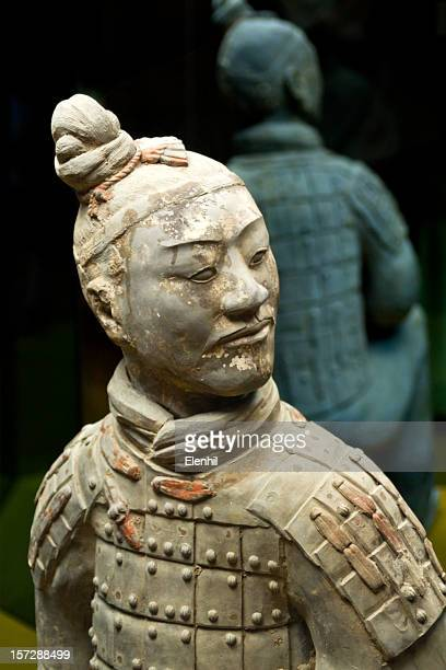 Ancient terracotta sculpture of a Chinese soldier