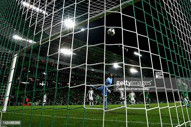 Anco Jansen of De Graafschap shoots and scores his teams first goal of the game past goalkeeper Luciano da Silva of Groningen during the Eredivisie...