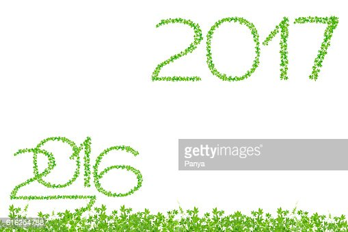 2016 and 2017 year made from green leaves : Foto de stock