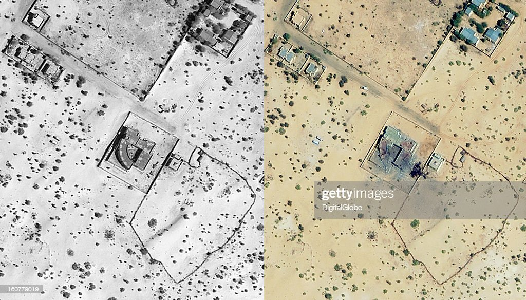 These images show the location of a French airstrike on a rebel compound just south of Timbuktu, Mali. The compound, reported to be formerly owned by Muammar Qaddafi, appears to have been hit twice, as shown in satellite imagery. With the help of Malian troops, French-led forces consisting of 200 paratroopers and an armed battalion began their offensive on January 11, 2013, to drive the rebels of the militant Islamist alliance out of town