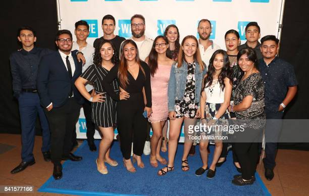 And Action cofounder Evan Goldberg joins Seth Rogen Robbie Amell and students from John C Fremont High Schools on the WE Carpet ahead of the LA...