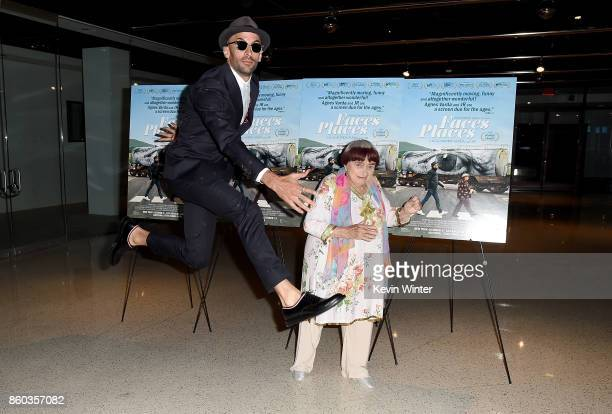 JR and Agnes Varda attend the premiere of Cohen Media Group's 'Faces Places' at Pacific Design Center on October 11 2017 in West Hollywood California