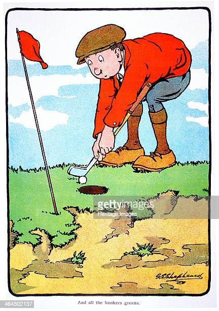 And all the bunkers greens Golfing postcard c1920s
