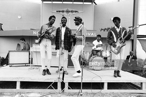 R and B and soul music group the Chamber Brothers perform at the Newport Folk Festival in July 1965 in Newport Rhode Island