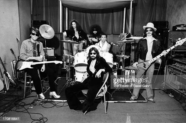 R and B influenced blues rock band The J Geils Band lr J Geils Seth Justman Magic Dick Peter Wolf Stephen Bladd Danny Klein pose for a portrait...